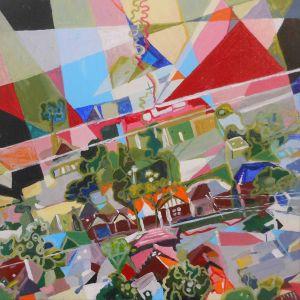 Artist: Melanie Lazarow Title: Landing in Sydney  Media: Acylic on canvas.